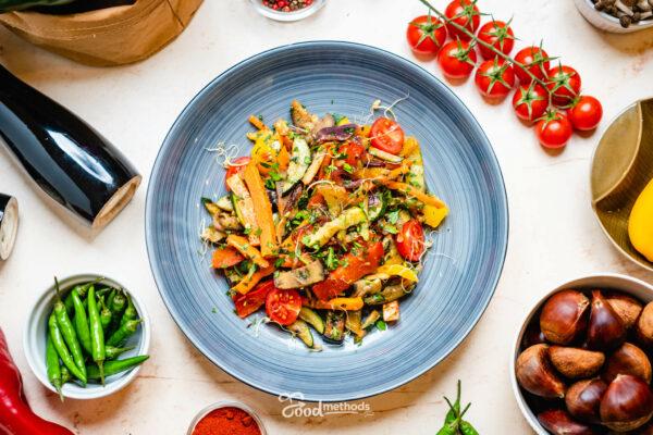 Grill zöldség tányéron
