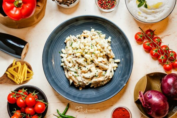 Csirkés Pipette tányérban